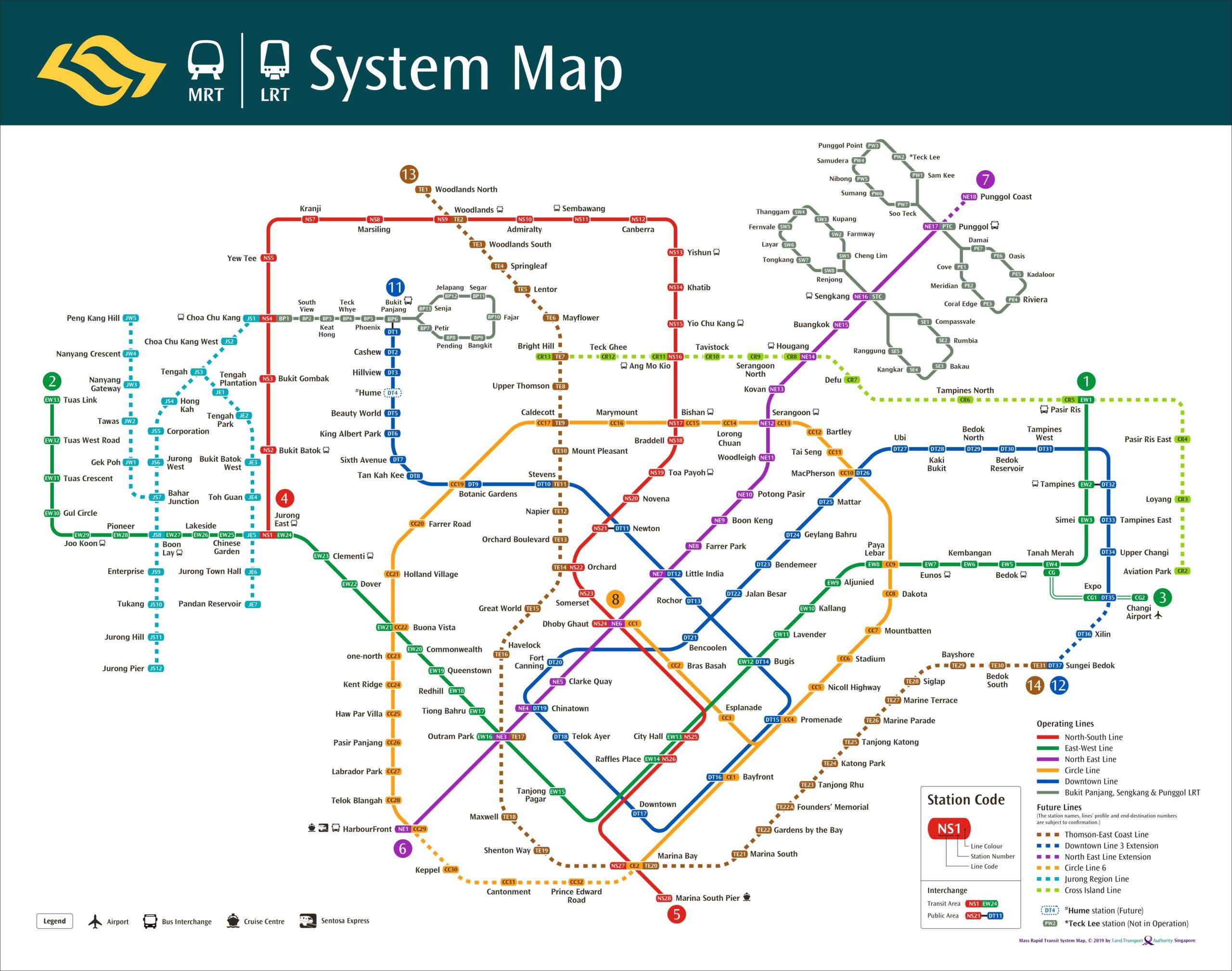 シンガポール MRT 地図