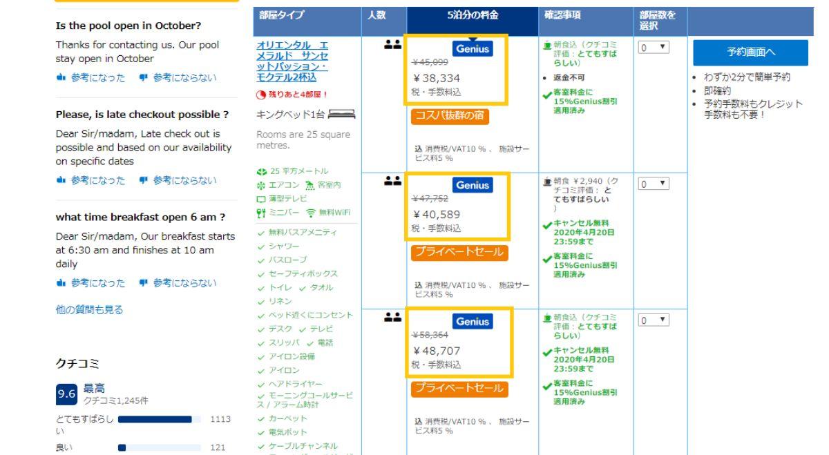 Booking.genius会員 Booking.comカード ブッキングドットコム おすすめ