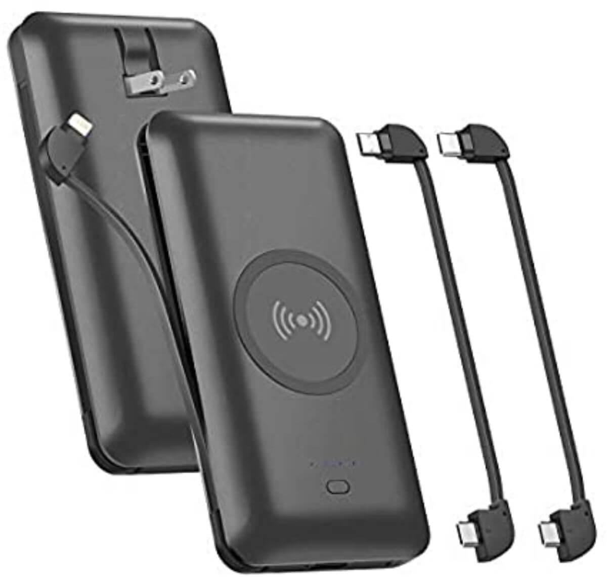 海外旅行 モバイルバッテリー OMKUY 3本ケーブル内蔵 10000mAh