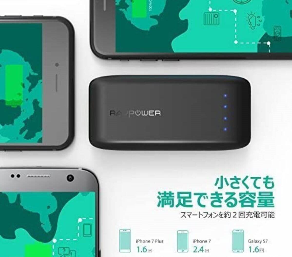 モバイルバッテリー 手のひらサイズ RAVPower RP-PB060 容量